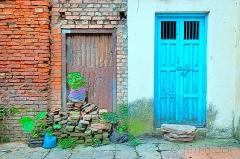 Kathmandu door with rocks