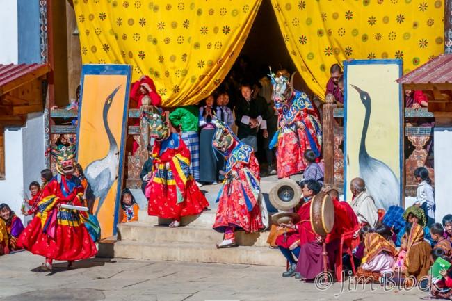 BHU-6710--Masked-Dancers-at-Black-necked-Crane-Festival---Pan-(3)