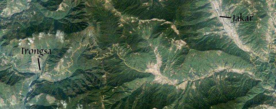 Jakar to Trongsa from Google Earth