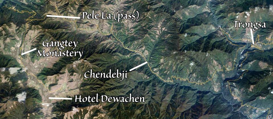 Trongsa to Phobjikha view from Google Earth